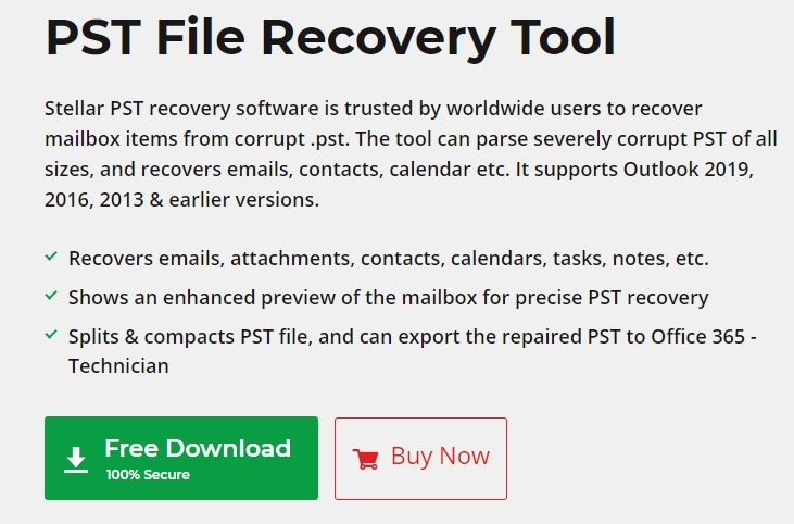 Free download Stellar recovery tool from the website