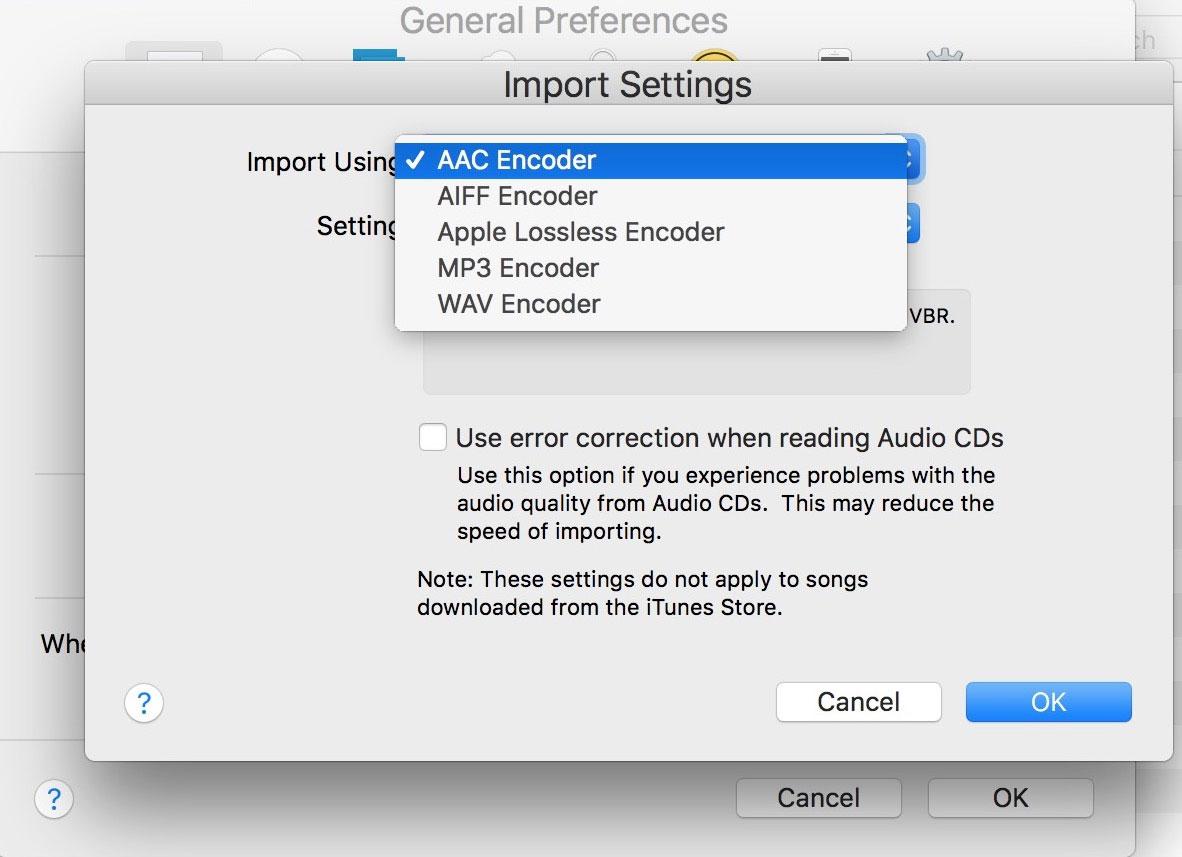 tap on import cd option