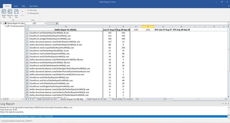 Stellar Excel Repair Preview Repaired Files
