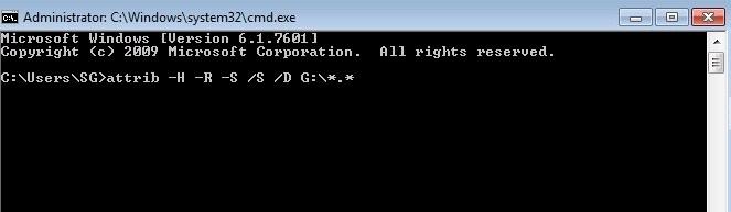Atrib del símbolo del sistema de Windows
