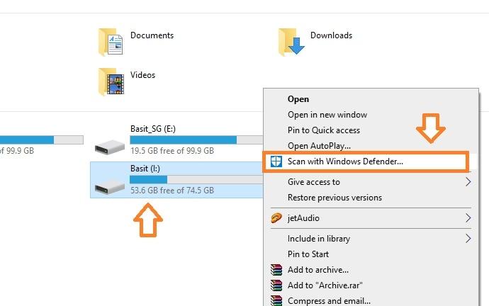 Escanear Unidad USB con Windows Defender