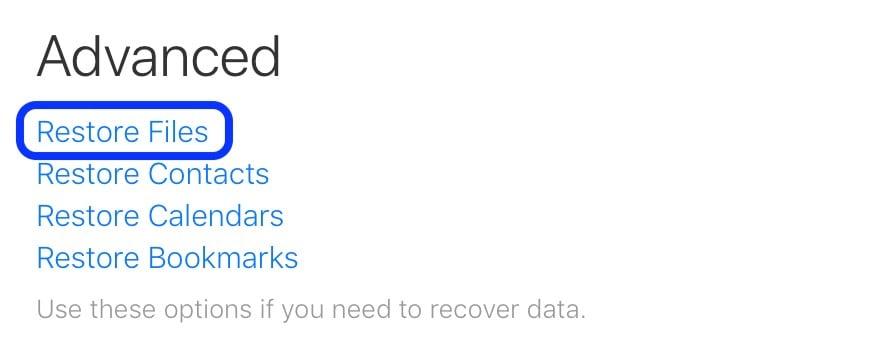 click on restore  files