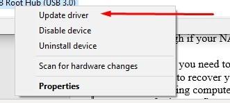 choosing update driver option