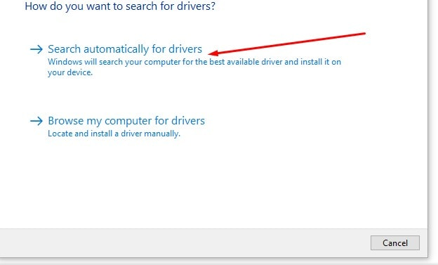 choosing search automatically for drivers