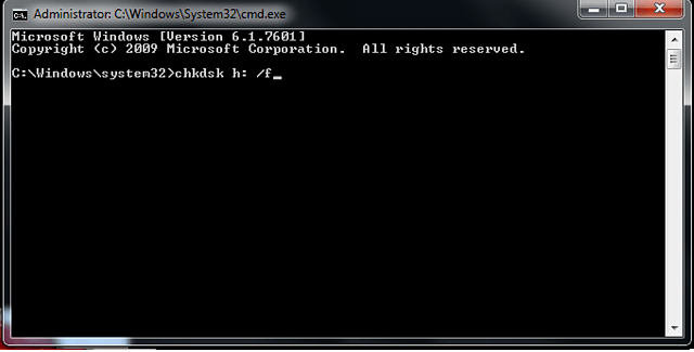 entering chkdsk command in cmd window