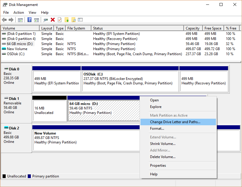 disk management options