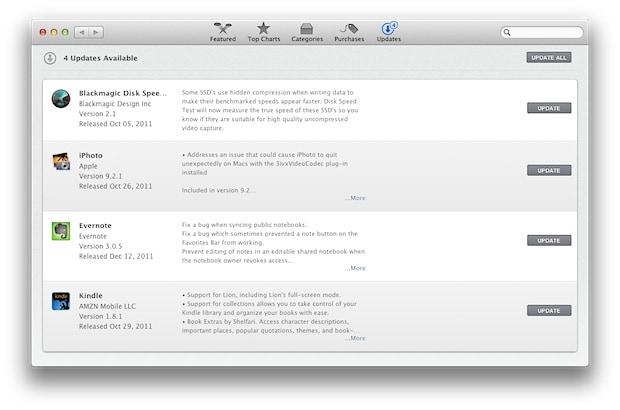 app store, updates tab