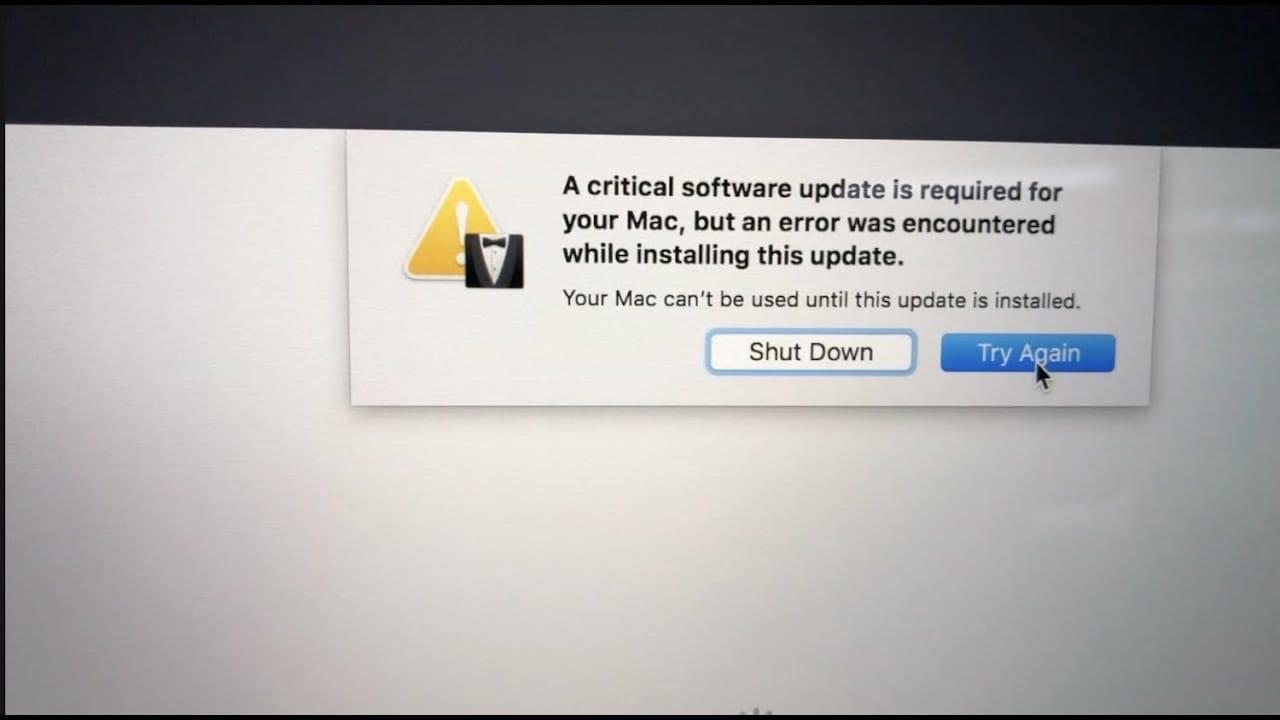 mac computer showing critical software update error