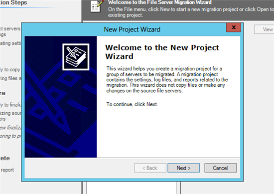 open new project wizard