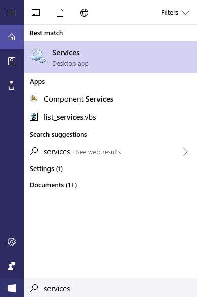 open windows services app