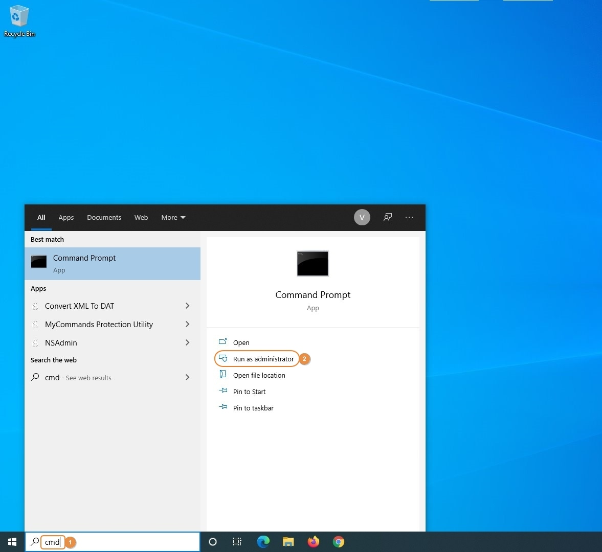 launch elevated command prompt