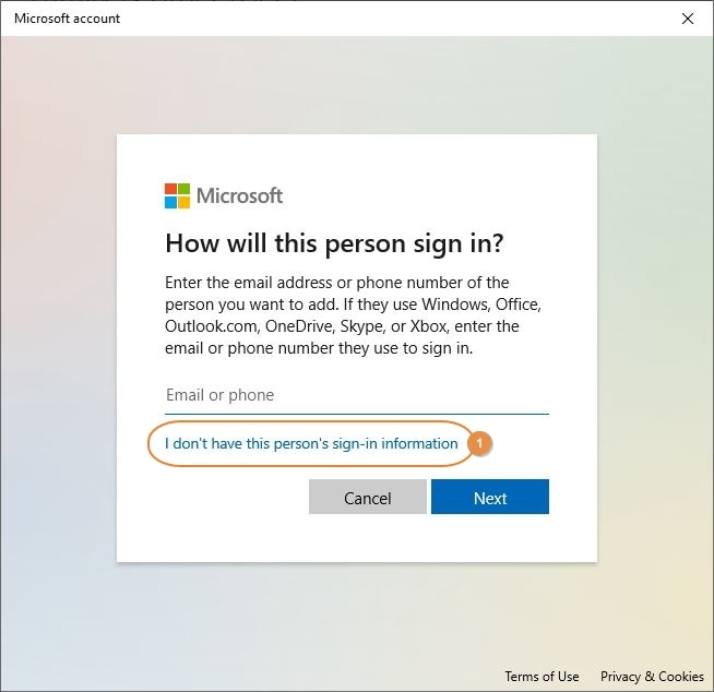 continue without sign in information