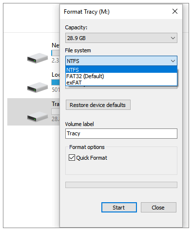 formatting sd card from its properties