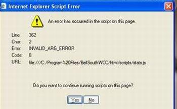 internet explorer script error
