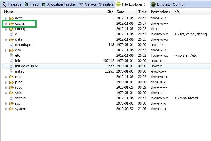 sd card cache folder
