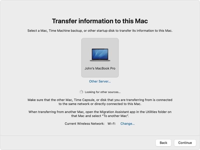 assistant de migration pour transférer des fichiers