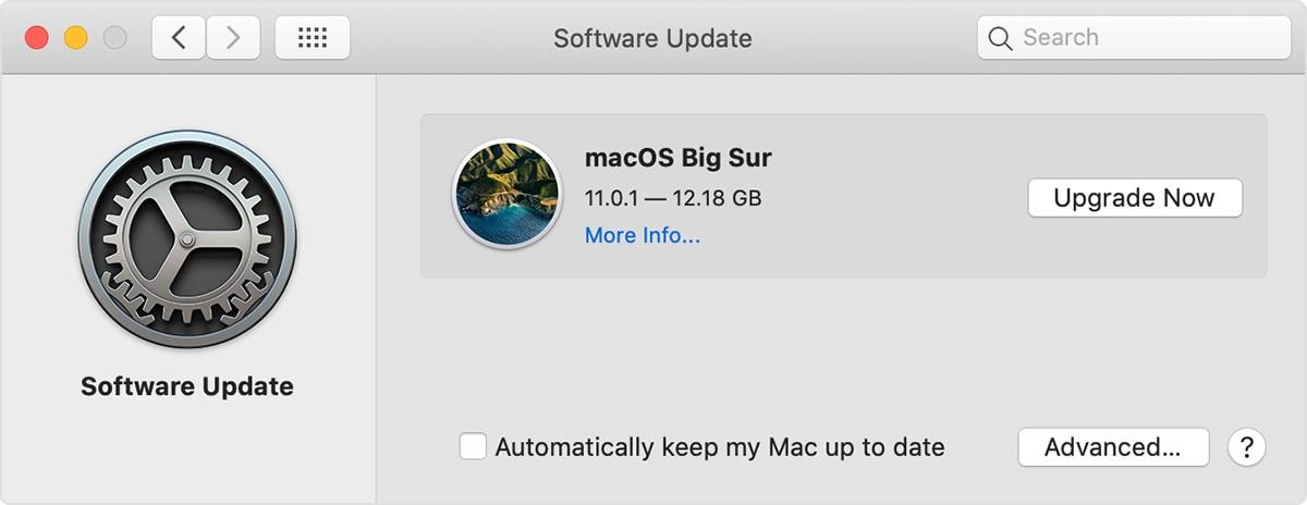 software update menu in mac