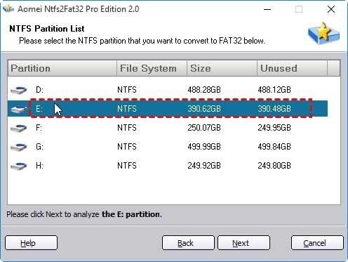 ntfs partition list
