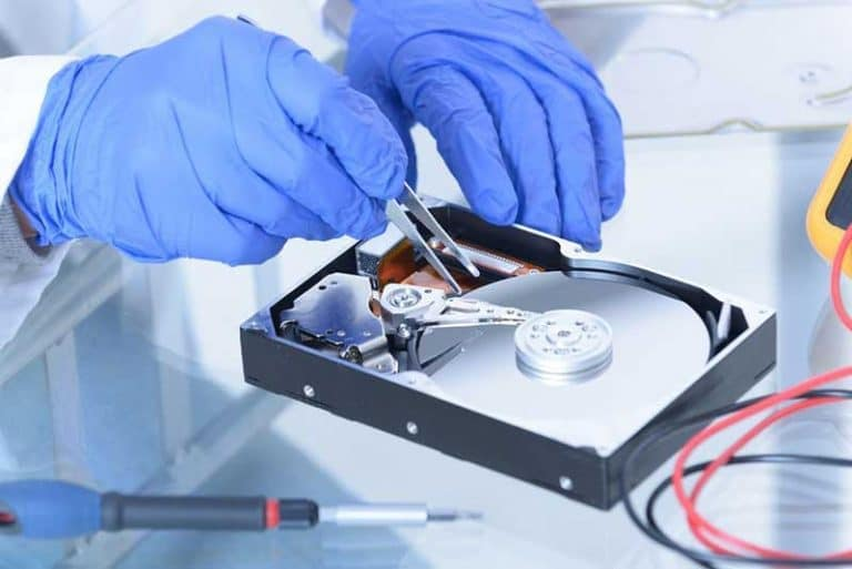 a professional service agency recovering data through HDD disk platters