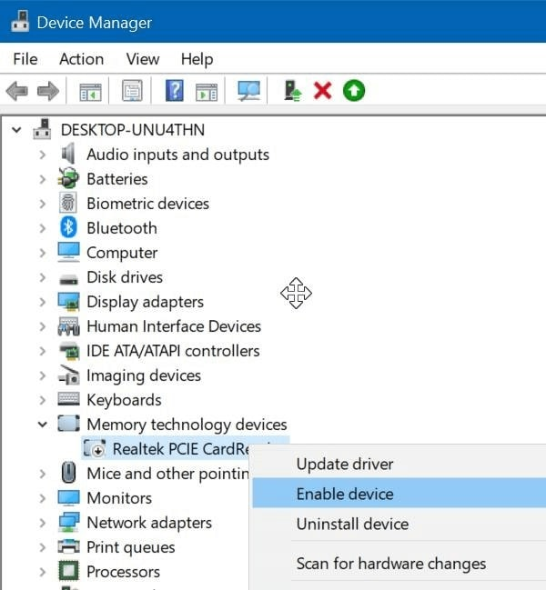 locating the memory card device drivers in the device manager