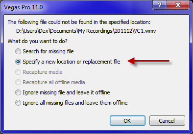 replacement file at known location
