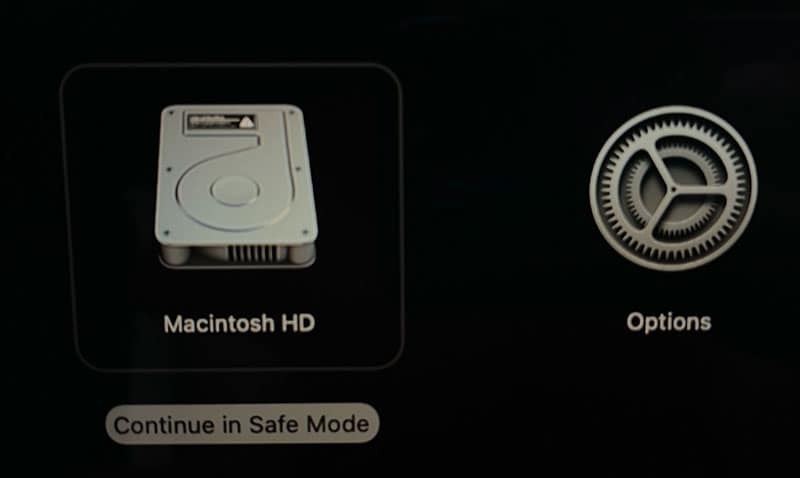 selecting the option of continuing in safe mode