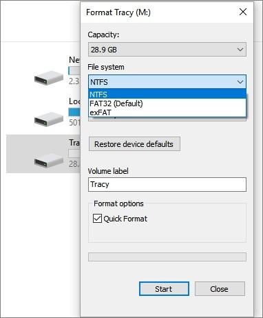 sd card file system selection formatting