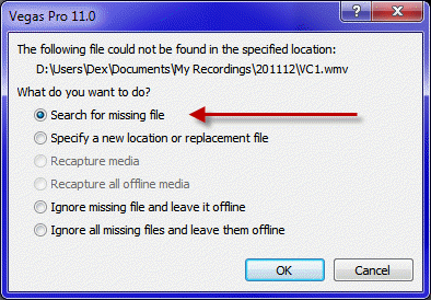 search for missing file