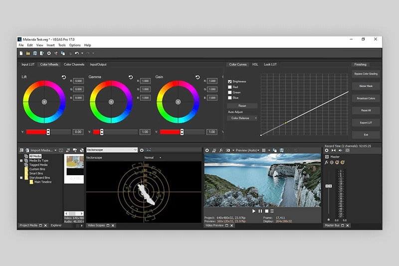 the sony vegas editing interface