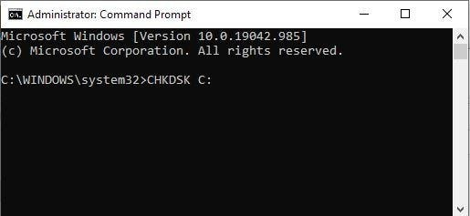 typing the command to recover data