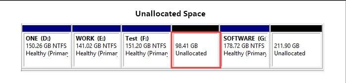 unallocated space