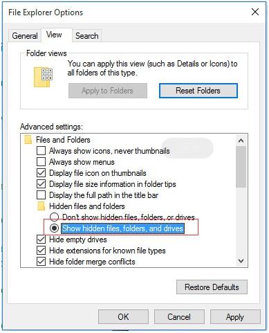 using file explorer pop-up to unhide hidden files
