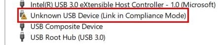yellow icon in device manager showing unknown usb device link error
