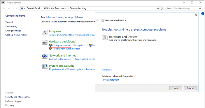 using windows troubleshooter to configure the device
