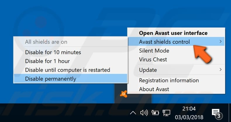 avast antivirus controls for disable