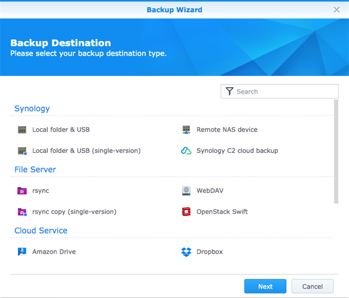 backup destination for files