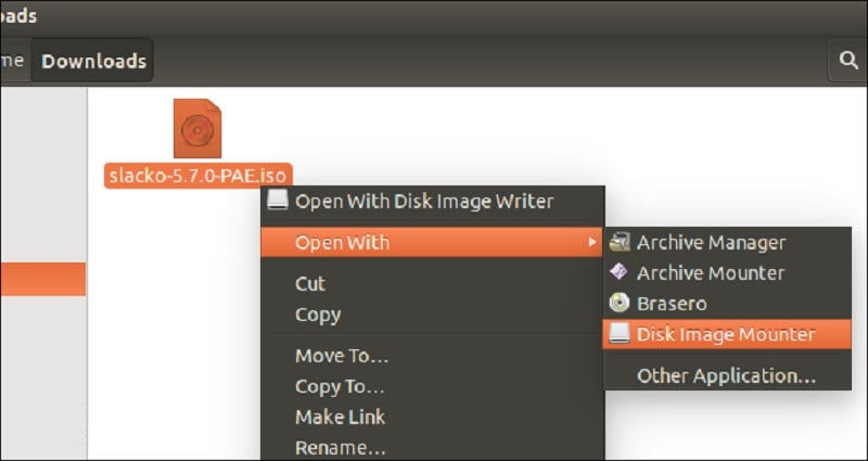 Open with disk image mounter