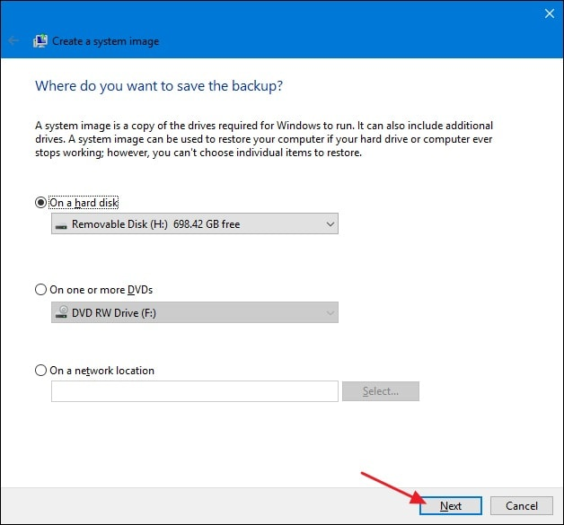 select disk image in Windows