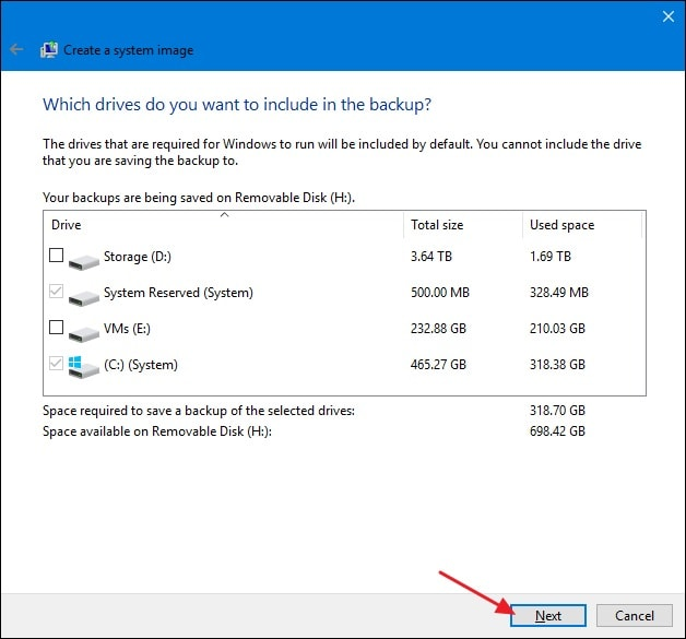 Select destination disk