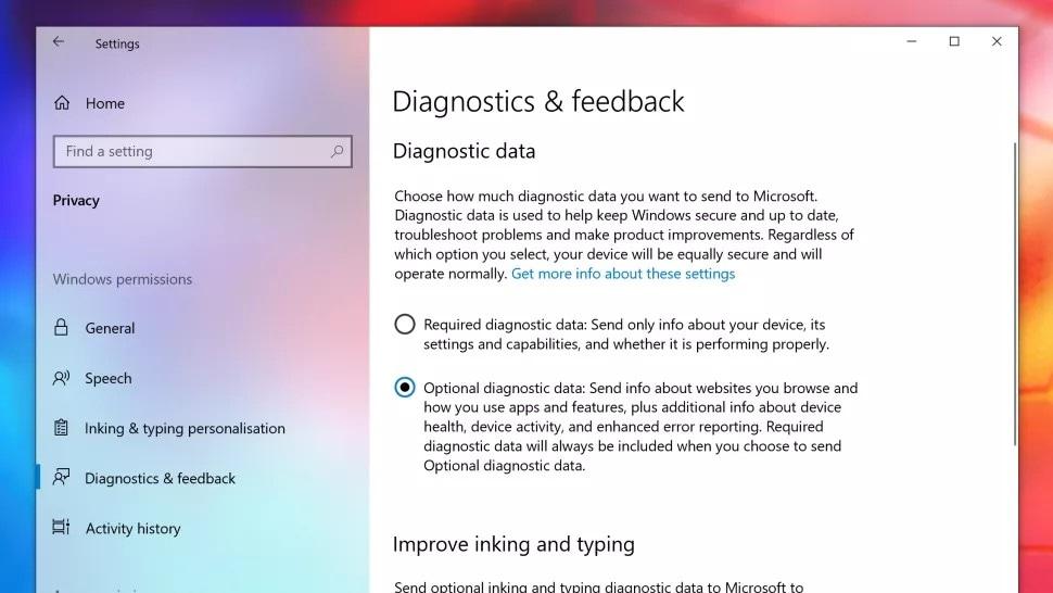 enable diagnostic data option