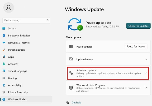 access advanced options from windows update