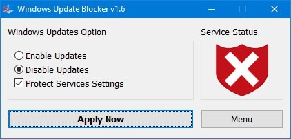 enable disable updates option