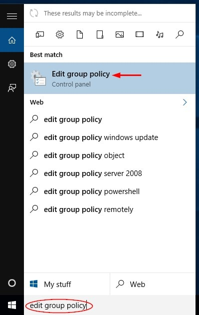 open the group policy editor