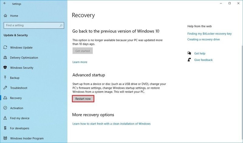 restart your computer from recovery