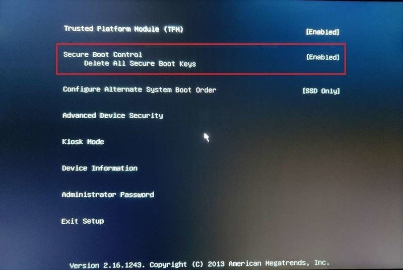 enable uefi secure boot