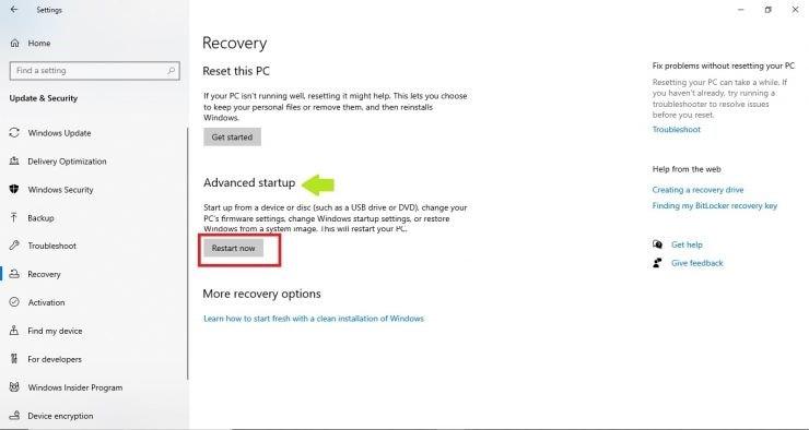 click on restart now option