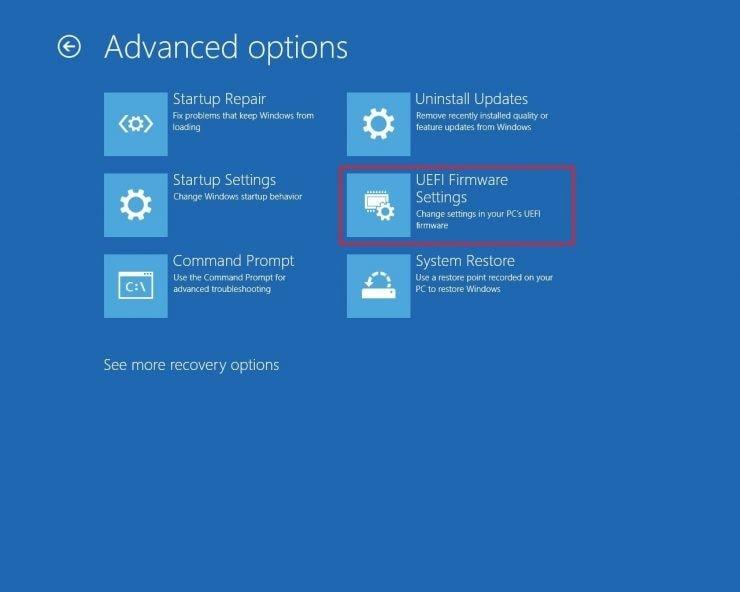 select the uefi firmware settings