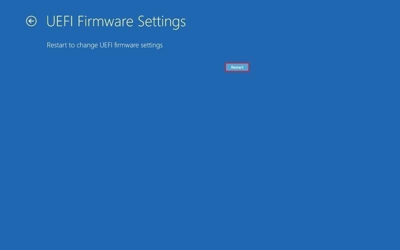 initiate restart from uefi settings