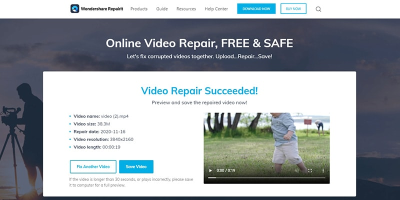 save repaired mp4 video