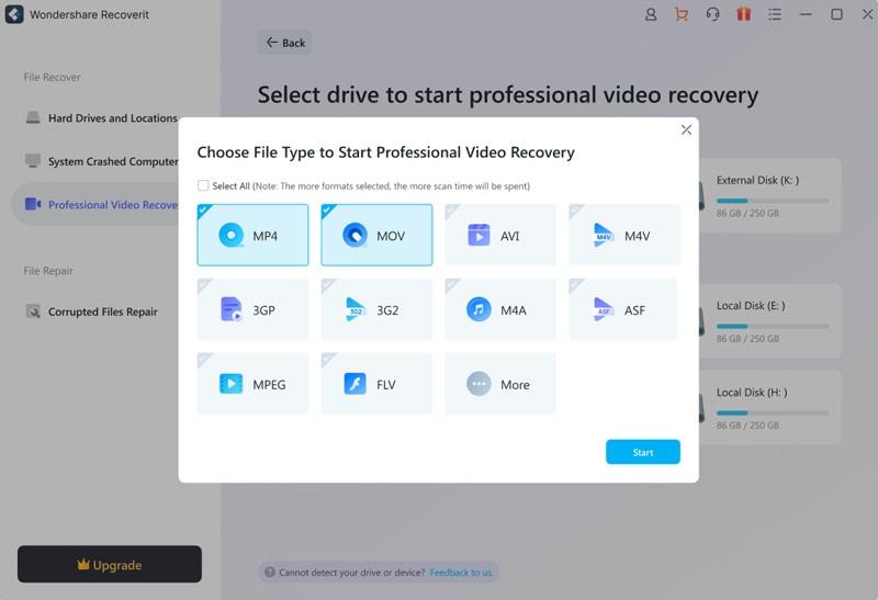Auswählen des Videotyps in der erweiterten Videowiederherstellung